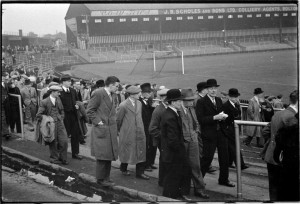 Football crowds leave Burnden Park after watching Bolton Wanderers reserve team play
