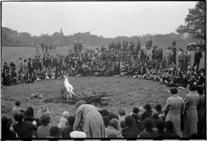 Campfire display at a Girl Guide Rally