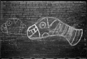 Graffiti- muzzled dogs