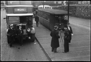 Filming at the bus station